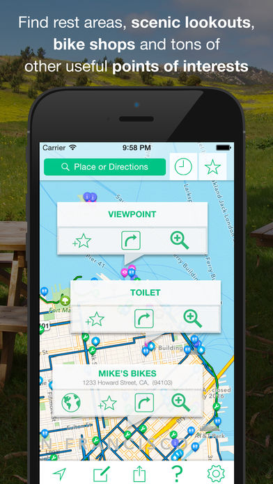 Cyclemap app for navigating using the gps while riding a bike