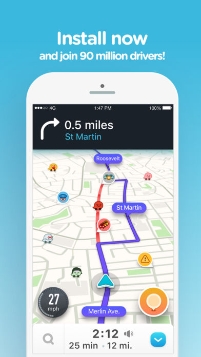 Waze app to avoid traffic jams using the gps on the smartphone